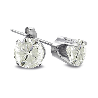 2/3 Carat Round Diamond 14K White Gold Earrings, J-K, I3