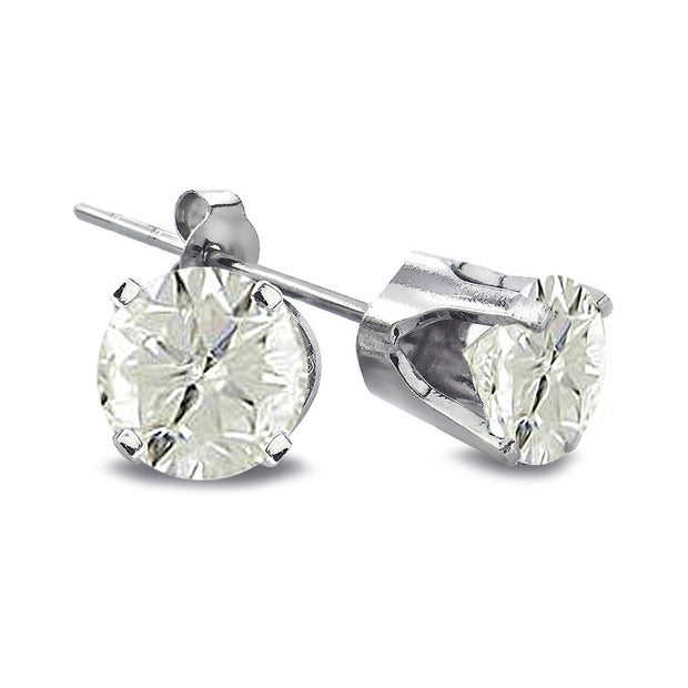 2/3 ct Round Diamond 14K White Gold Earrings, J-K, I3