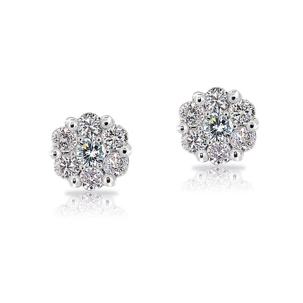 14K Gold 1/4 CT. T.w. Diamond Cluster Stud Earrings (G-H, I2)