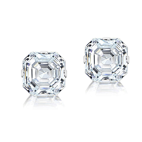 14K White Gold 6mm Asscher-Cut Cubic Zirconia Stud Earrings