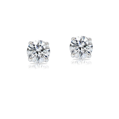 14k White Gold 1/5 Carat tdw Clarity Enhanced Diamond Round Stud Earrings (H, I1)