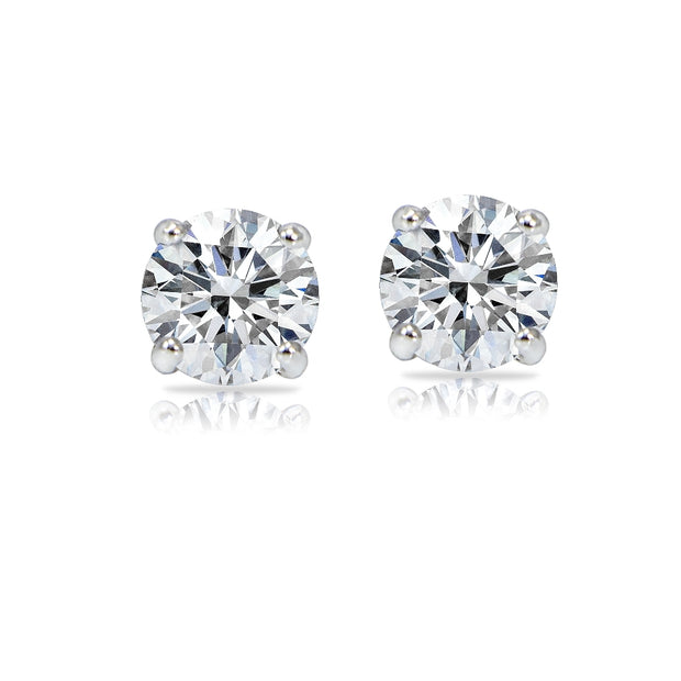 14k White Gold 2/5 Carat tdw Clarity Enhanced Diamond Round Stud Earrings (H, I1)