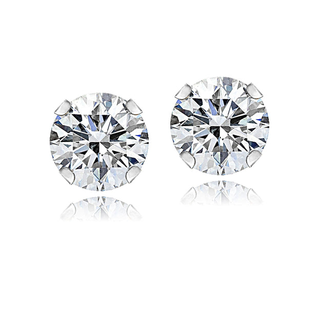 14K White Gold 1 ct Stud Earrings Made with Swarovski Zirconia