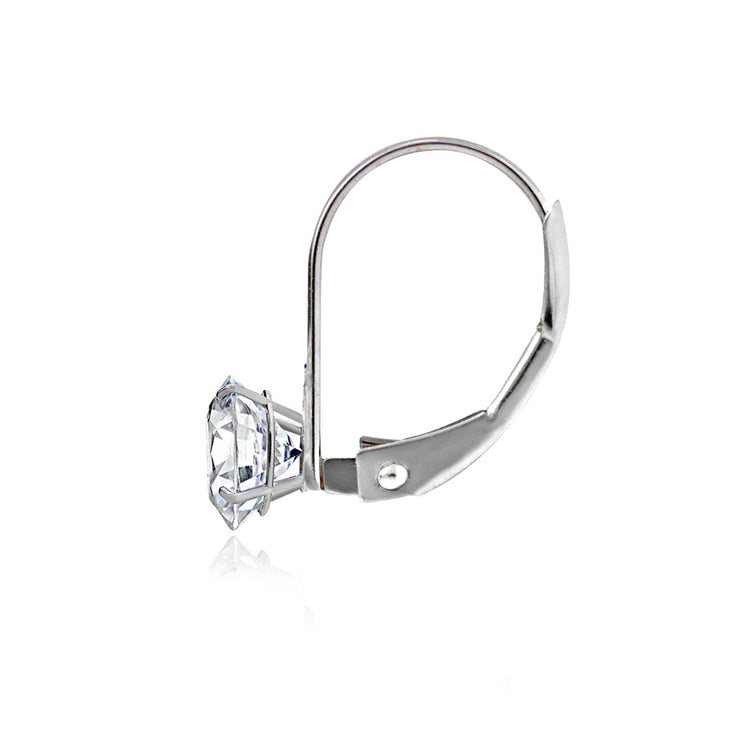 14K White Gold 1.00 ct tdw Cubic Zirconia Round Leverback Earring, 5mm