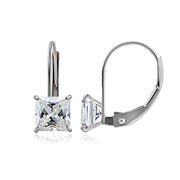 14K White Gold 1.50 CTTW Cubic Zirconia Square Leverback Earring, 5mm
