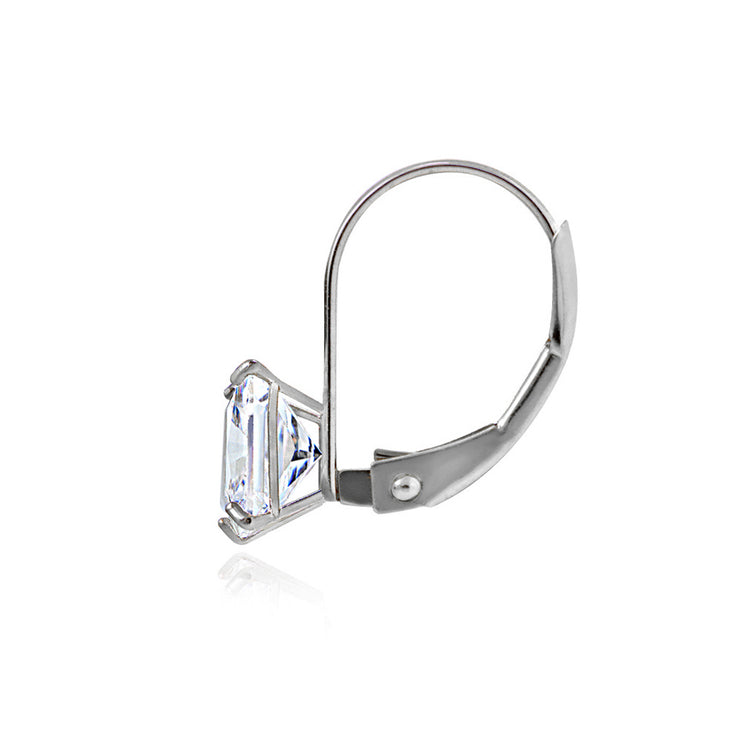 14K White Gold 2.60 CTTW Cubic Zirconia Square Leverback Earring, 6mm