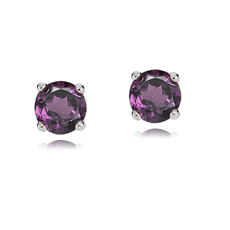 14k White Gold African Amethyst 4mm Round Stud Earrings