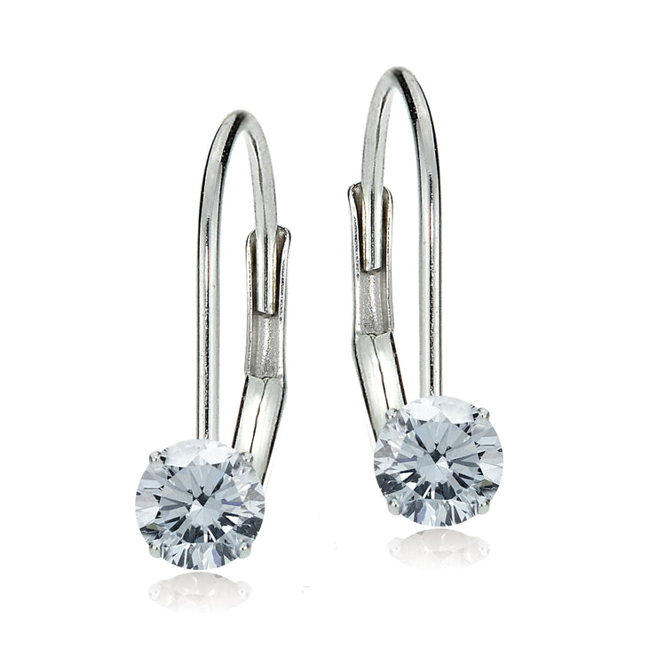 14k White Gold Aquamarine 5mm Round Leverback Earrings