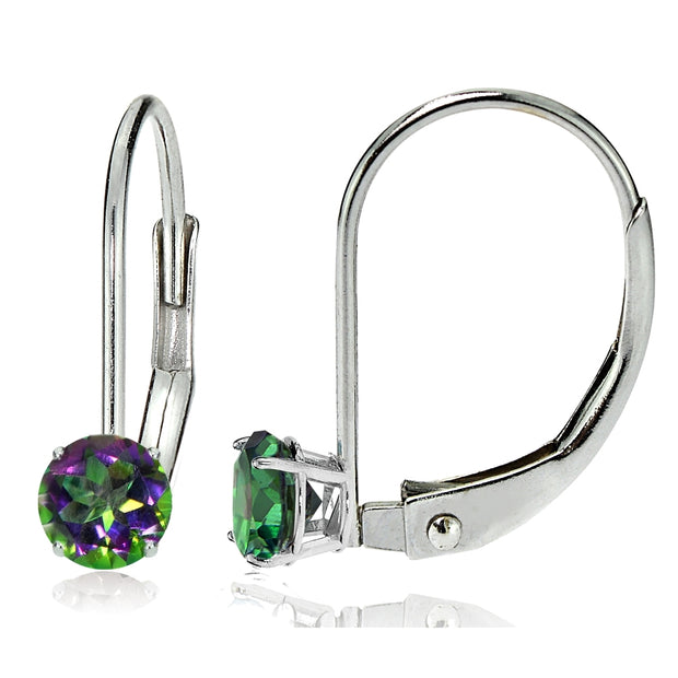 14k White Gold Mystic Topaz 5mm Round Leverback Earrings
