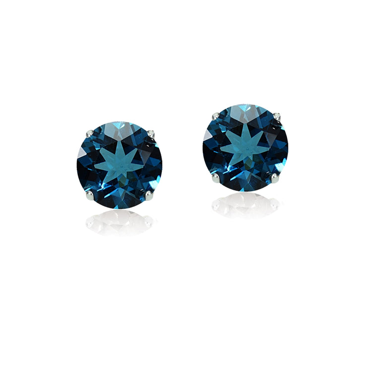 14k White Gold London Blue Topaz 6mm Round Stud Earrings