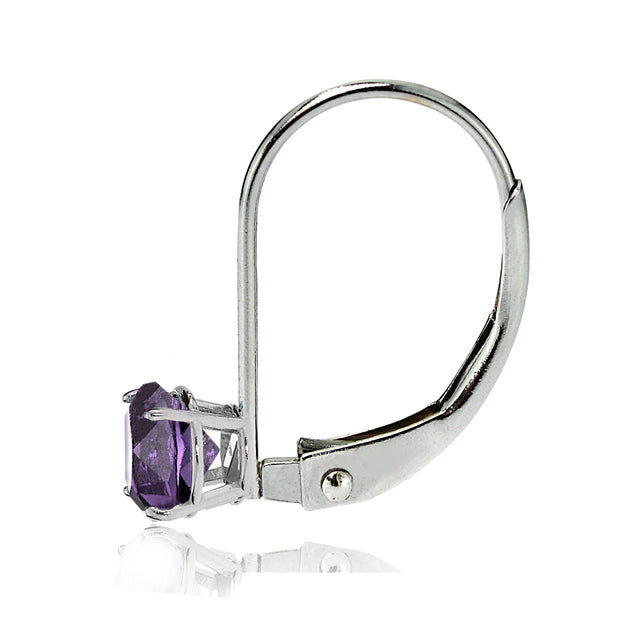 14k White Gold Amethyst 6mm Round Leverback Earrings