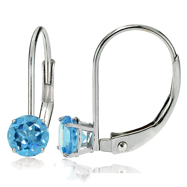 14k White Gold Swiss Blue Topaz 6mm Round Leverback Earrings
