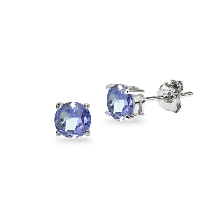 14K White Gold Tanzanite 5mm Round Stud Earrings
