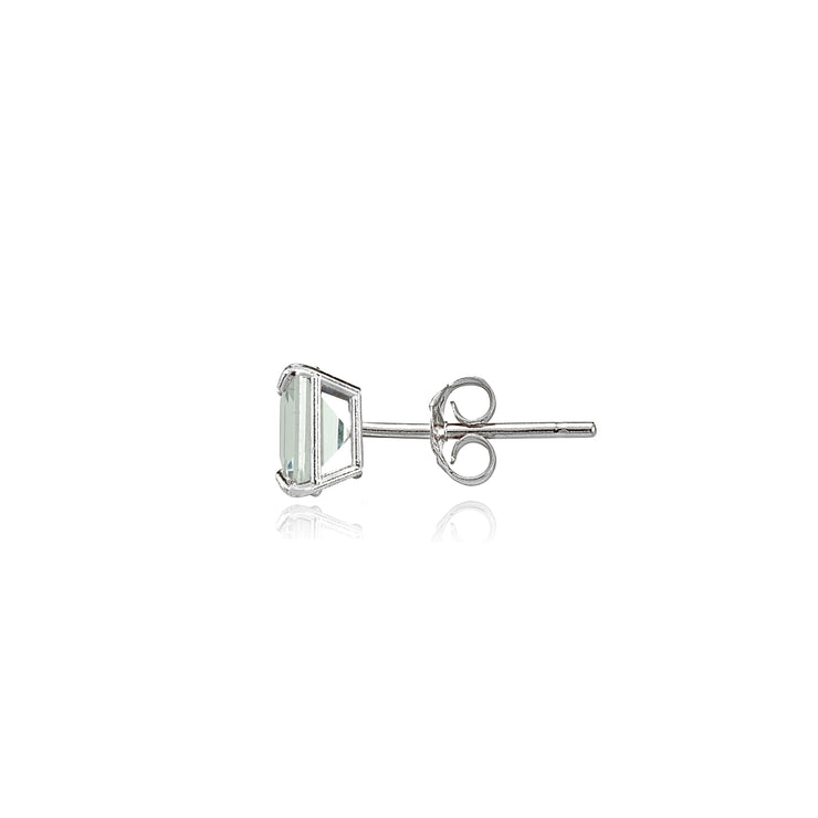 14k White Gold Light Aquamarine 4mm Princess-Cut Stud Earrings