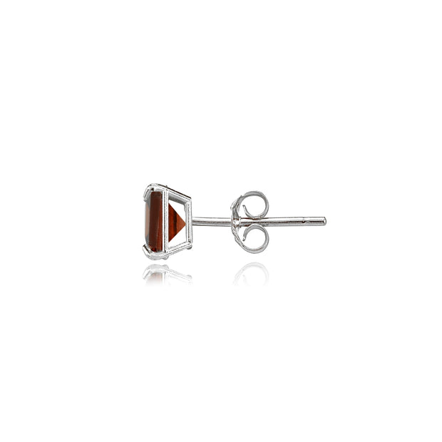 14k White Gold Garnet 4mm Princess-Cut Stud Earrings