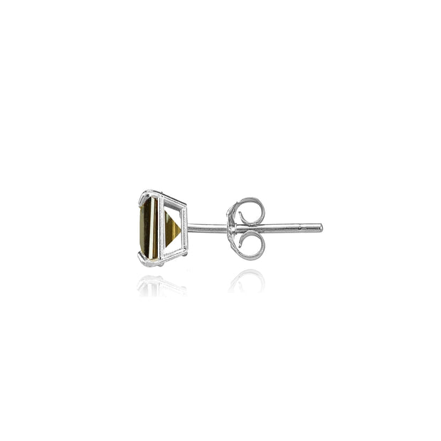 14k White Gold Smoky Quartz 4mm Princess-Cut Stud Earrings