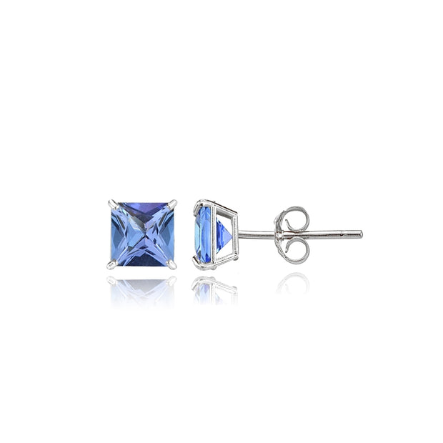 14k White Gold Tanzanite 4mm Princess-Cut Stud Earrings