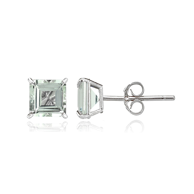14k White Gold Light Aquamarine 5mm Princess-Cut Stud Earrings