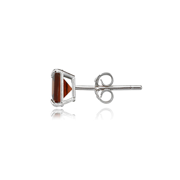 14k White Gold Garnet 5mm Princess-Cut Stud Earrings