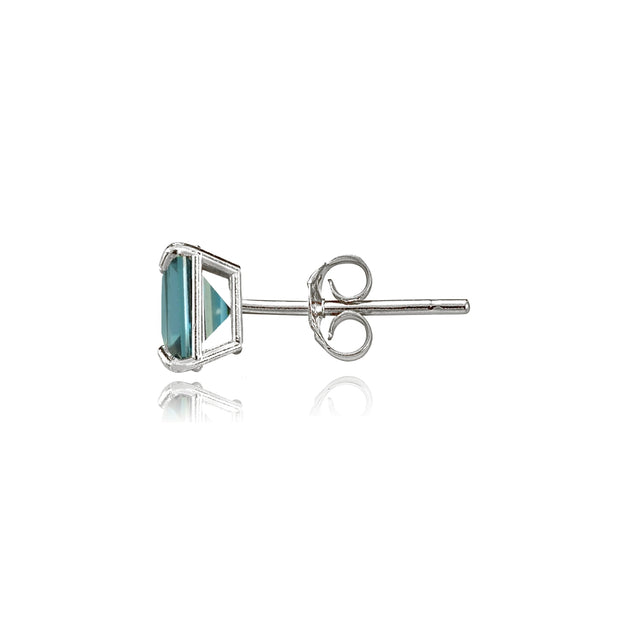 14k White Gold London Blue Topaz 5mm Princess-Cut Stud Earrings