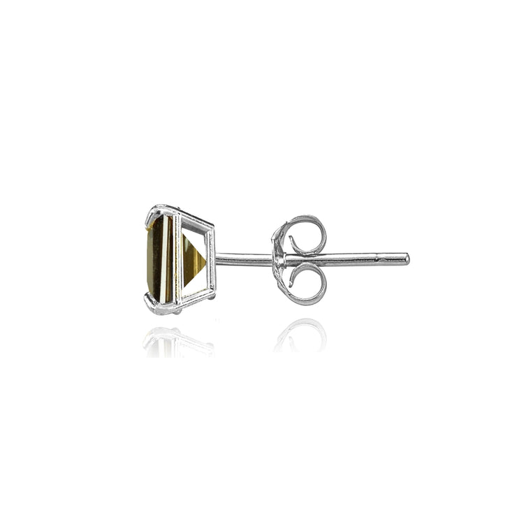 14k White Gold Smoky Quartz 5mm Princess-Cut Stud Earrings