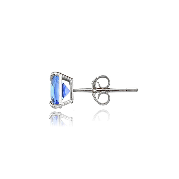 14k White Gold Tanzanite 5mm Princess-Cut Stud Earrings
