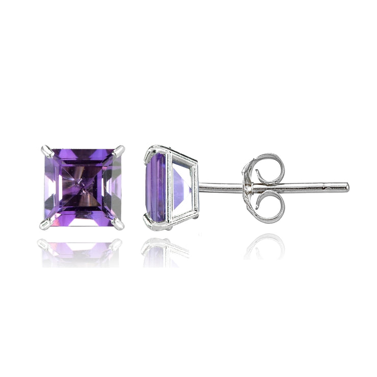 14k White Gold African Amethyst 6mm Princess-Cut Stud Earrings