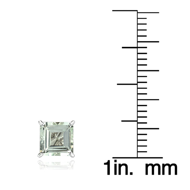 14k White Gold Light Aquamarine 6mm Princess-Cut Stud Earrings
