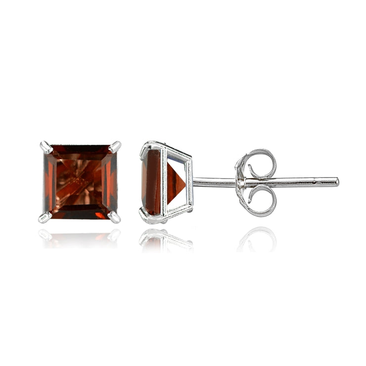 14k White Gold Garnet 6mm Princess-Cut Stud Earrings