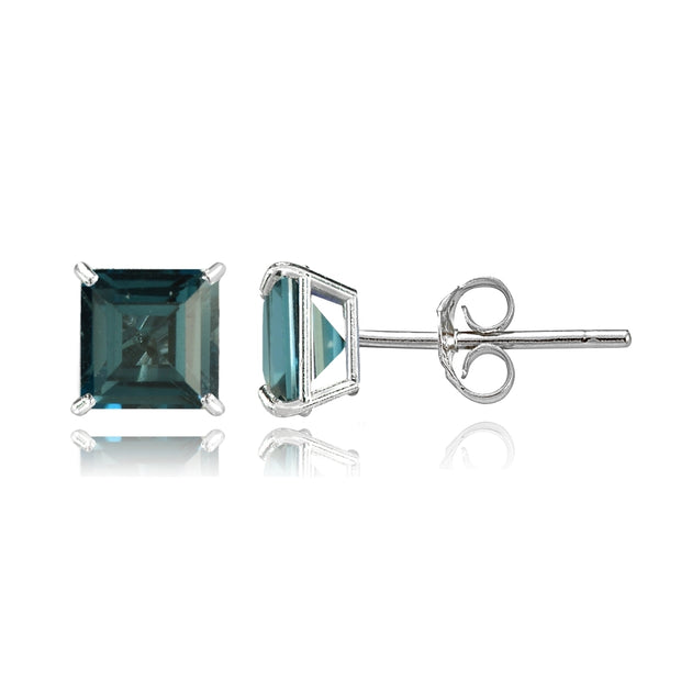 14k White Gold London Blue Topaz 6mm Princess-Cut Stud Earrings