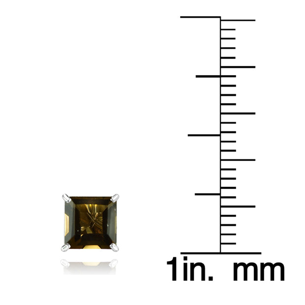 14k White Gold Smoky Quartz 6mm Princess-Cut Stud Earrings