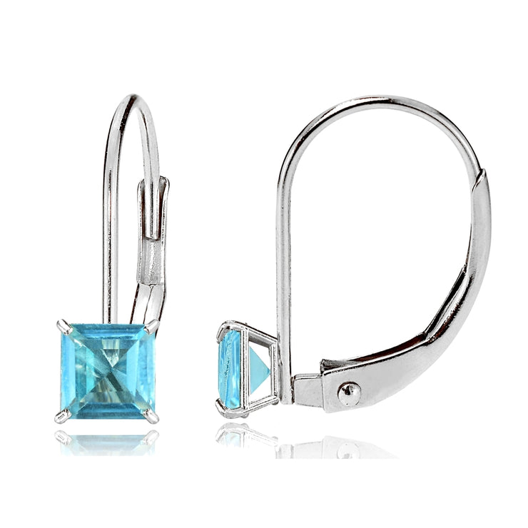 14k White Gold Swiss Blue Topaz 5mm Princess-Cut Leverback Earrings