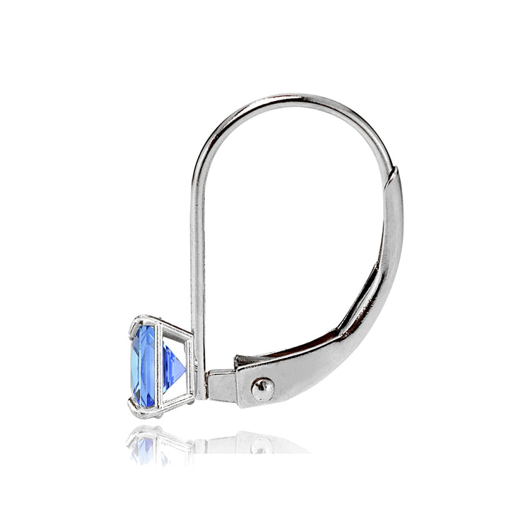 14k White Gold Tanzanite 5mm Princess-Cut Leverback Earrings