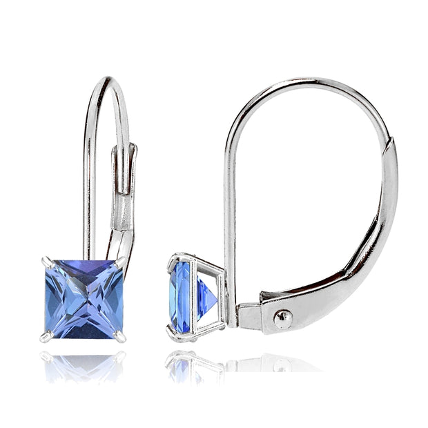 14k White Gold Tanzanite 6mm Princess-Cut Leverback Earrings