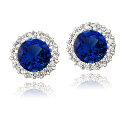 Sterling Silver 3.2ct Created Blue Sapphire & CZ Halo Stud Earrings