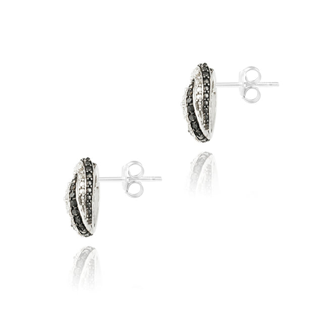 Sterling Silver 2/5ct Black Diamond & White Topaz Love Knot Stud Earrings