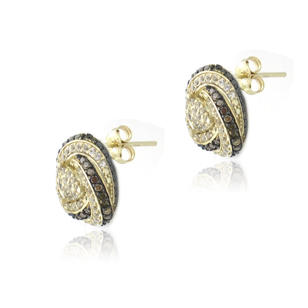 Gold Tone over Sterling Silver 2/5ct Champagne Diamond & White Topaz Love Knot Stud Earrings