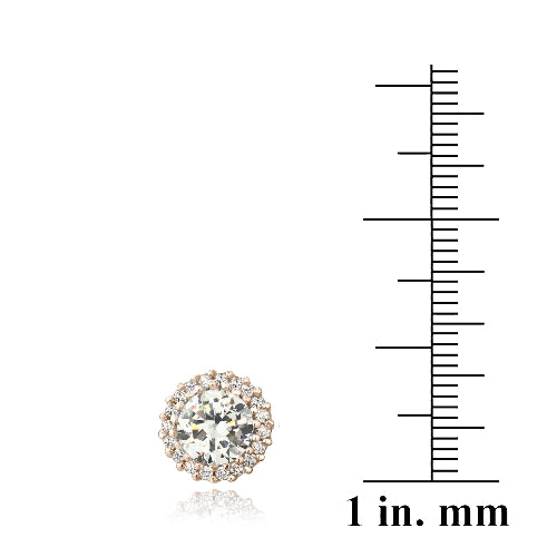 Rose Gold Tone over Sterling Silver CZ Halo Stud Earrings