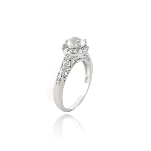 Sterling Silver 2ct White Topaz Round Ring