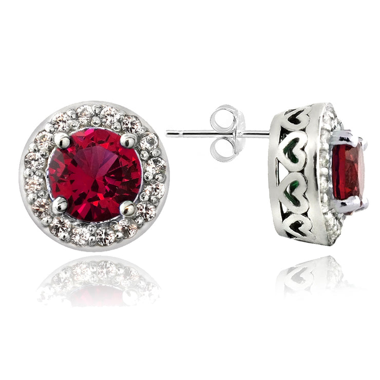 Sterling Silver 5.25ct Created Ruby & Created White Sapphire Round Stud Earrings & Necklace Set