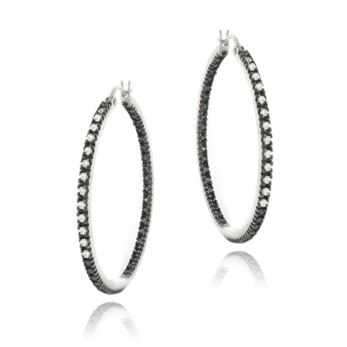 Sterling Silver 1/2 ct Diamond 35mm Inside-Out Hoop Earrings