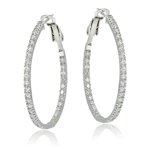 Sterling Silver 35mm Inside Out CZ Hoop Earrings