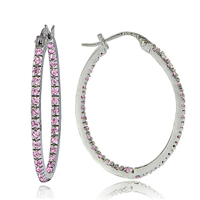 Sterling Silver Pink Cubic Zirconia Inside Out 25mm Oval Hoop Earrings