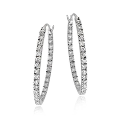 Sterling Silver Cubic Zirconia Inside Out 25mm Oval Hoop Earrings