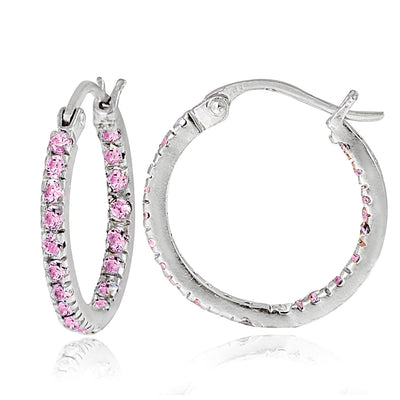 Sterling Silver Pink Cubic Zirconia Inside Out 17mm Round Hoop Earrings