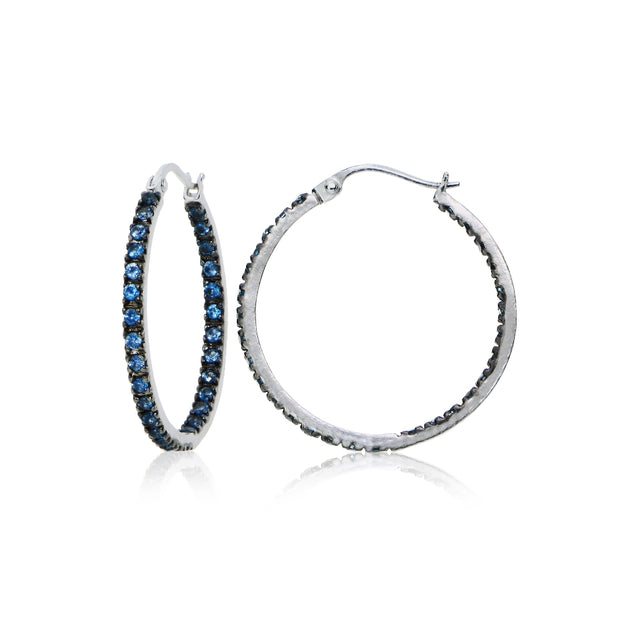 Sterling Silver Nano Simulated London Blue Topaz Stone Inside Out 17mm Round Hoop Earrings