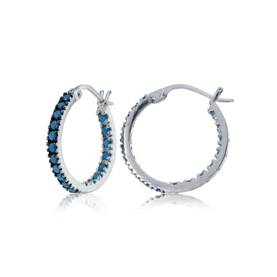 Sterling Silver Nano Simulated Turquoise Stone Inside Out 17mm Round Hoop Earrings