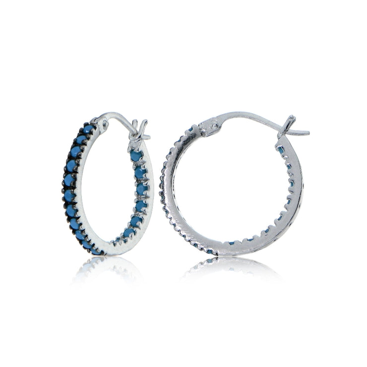 Sterling Silver Nano Created Turquoise Stone Inside Out 17mm Round Hoop Earrings