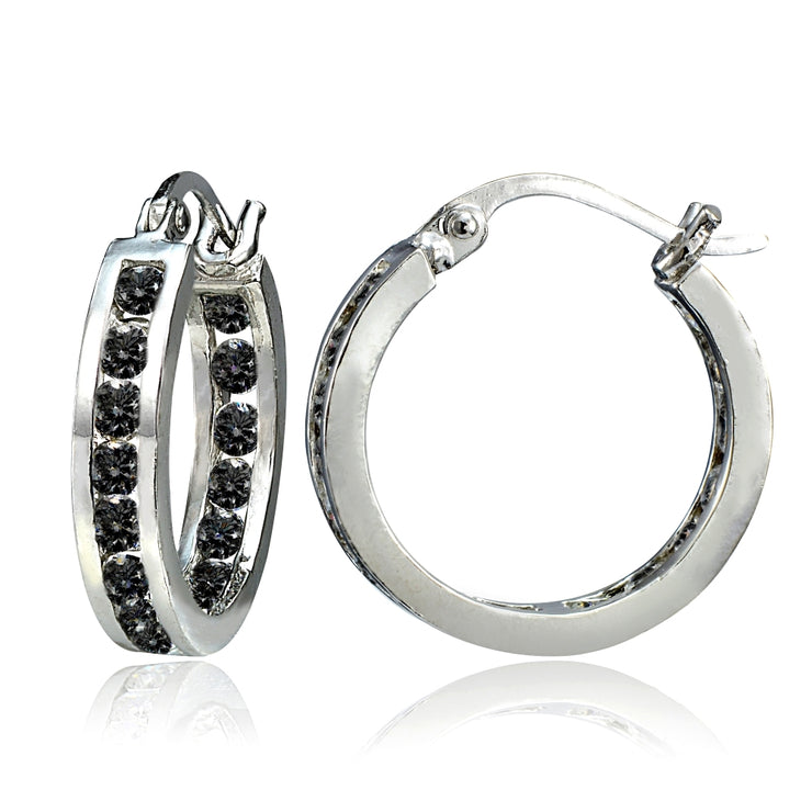 Sterling Silver Black Cubic Zirconia Inside Out Channel-Set 15mm Round Hoop Earrings