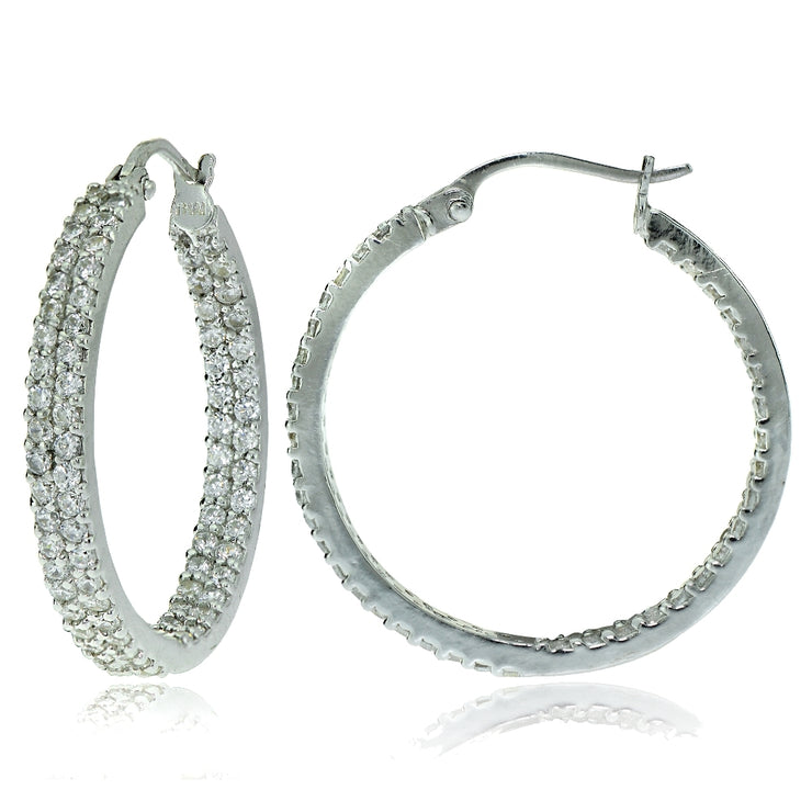 Sterling Silver Cubic Zirconia 3x25mm Two Row Inside-Out Hoop Earrings